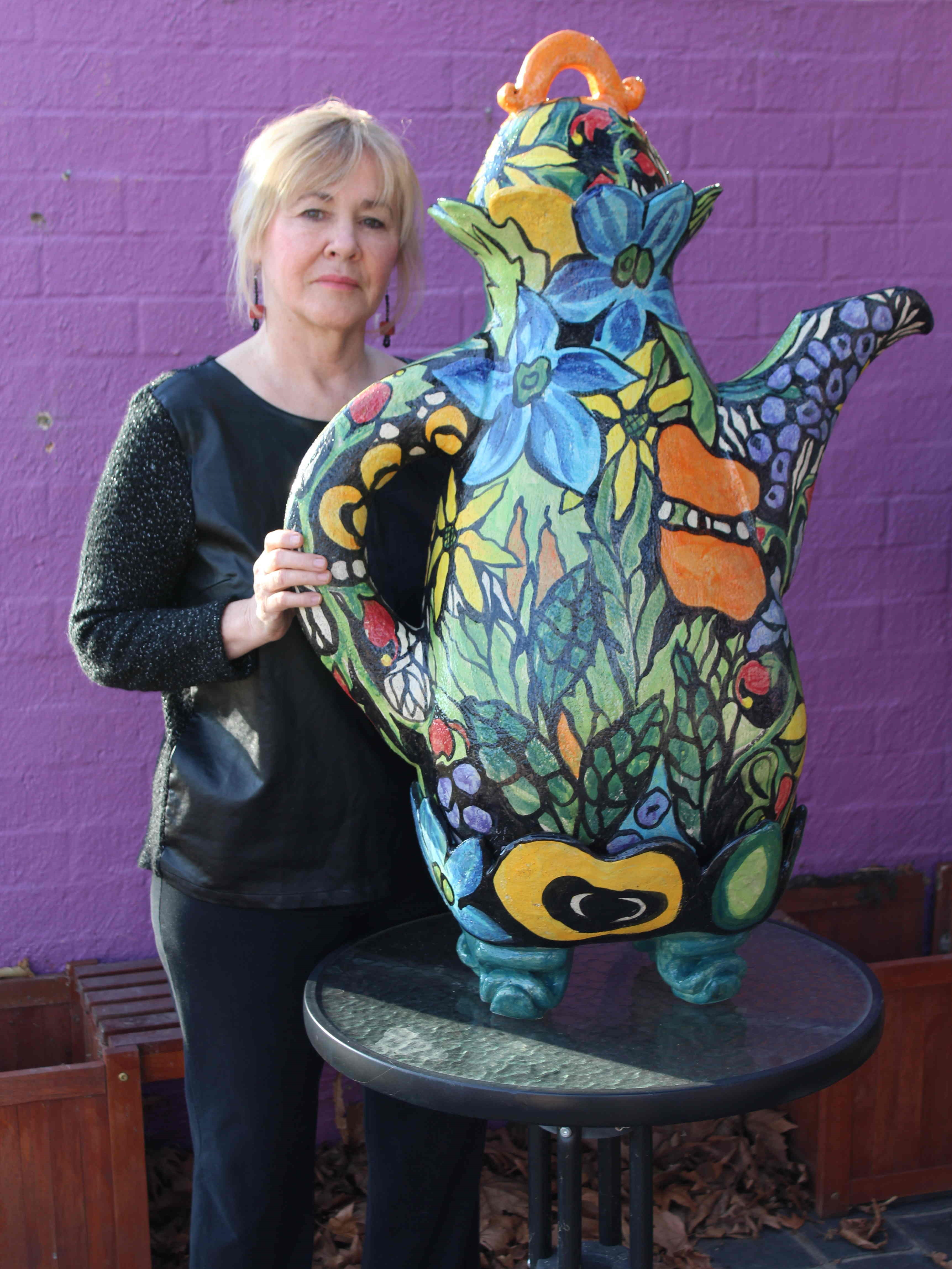 Monika Leone with her creation - a pot for that big cuppa